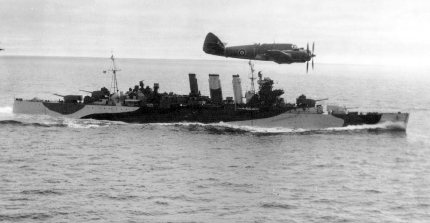 032-Beaufighter-of-254-Sqdn-flying-past-HMS-Shropshire-July-1943